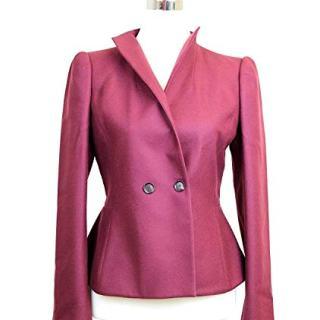Gucci Women's Burgundy Wool Cashmere Elastane Jacket Blazer