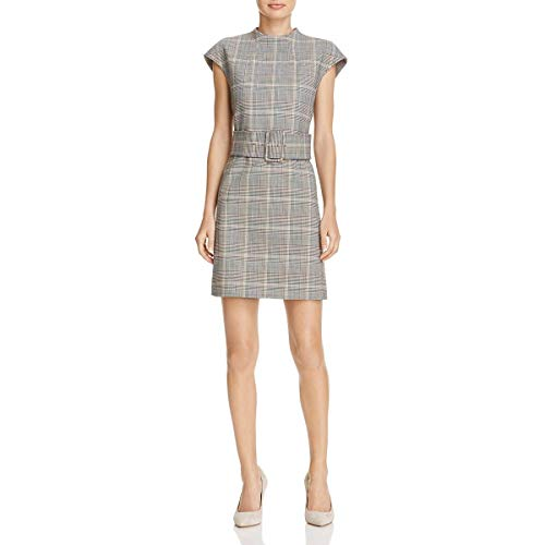 Theory Womens Belted Plaid Casual Dress Ivory