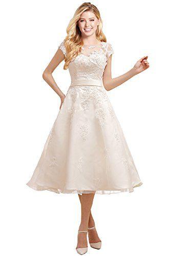 MiLano Bride Chic Tea Length Ball Gown Cap Sleeves