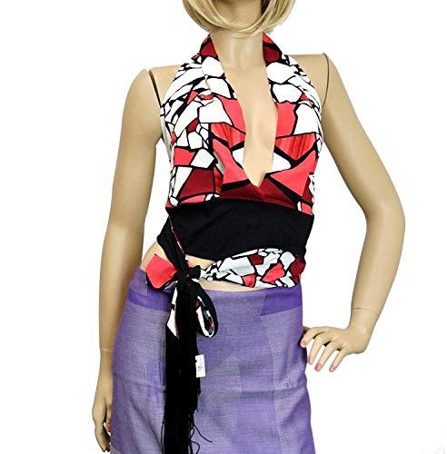 Gucci Women's Red White Black Silk Elastane Tassel One Size Halter Top
