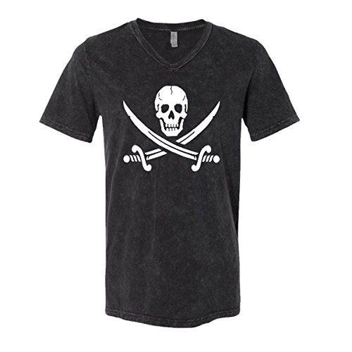Jolly Roger Mens V-Neck T-Shirt Pirate Flag
