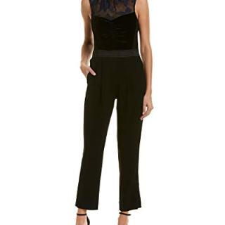 Rebecca Taylor Women's Sleeveless Velvet Organza Jumpsuit