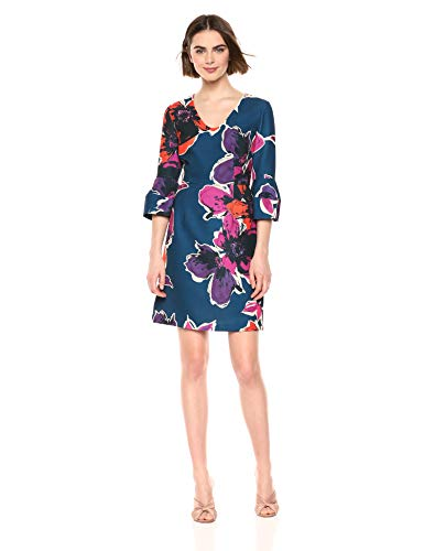 Trina Trina Turk Women's Mamie Flared Sleeve V Neck Dress