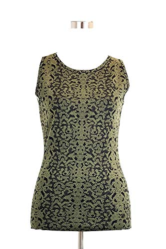 Gucci Women's Green Wool Small Python Printed Blend Tank Top