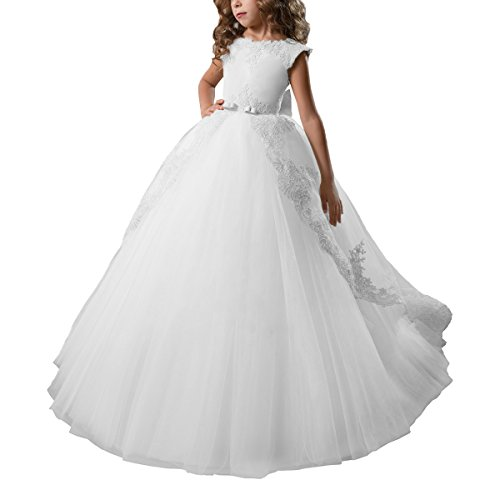 Abaosisters Fancy Flower Girl Dress Satin Lace Pageant Ball Gown