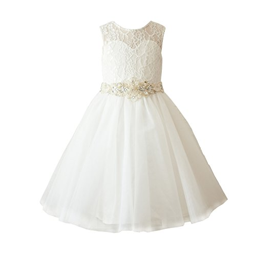 Miama Ivory Lace Tulle Wedding Flower Girl Dress Toddler Girl Dress