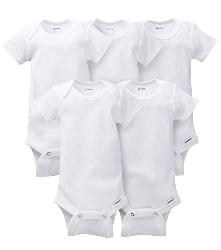 Gerber Baby 5-Pack Solid Onesies Bodysuits, White Newborn