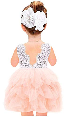 2Bunnies Girl Beaded Peony Lace Back A-Line Tiered Tutu
