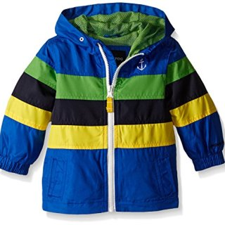 London Fog Baby Chest Stripe Poly Lined Jacket, Blue