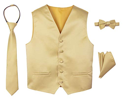 Spring Notion Boys' 4-Piece Satin Tuxedo Vest Set Antique Gold