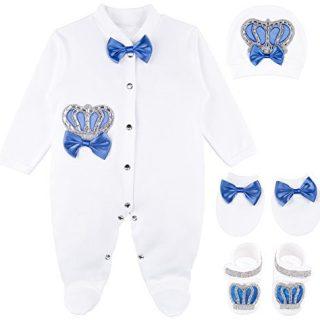 Lilax Baby Boy Jewels Crown Layette 4 Piece Gift Set