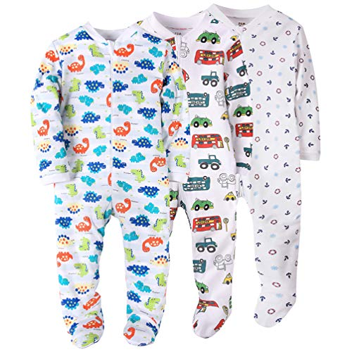 Dinosaur/Car/Anchor Baby Boys' Footed Pajama
