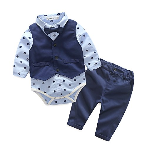 Kimocat Baby Boys Gentleman Bowtie Blue Suits Set