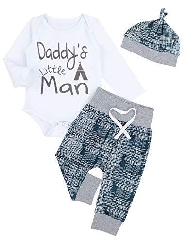Newborn Baby Boy Clothes Crew Letter Print Romper+Long Pants