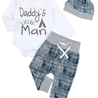 Newborn Baby Boy Clothes Crew Letter Print Romper+Long Pants