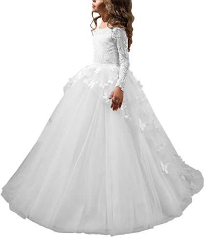 Abaowedding Lovely First Communion Dress Long Sleeves Prom Gown White