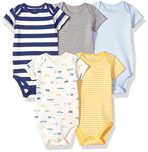 Moon and Back Baby Set of 5 Organic Short-Sleeve Bodysuits