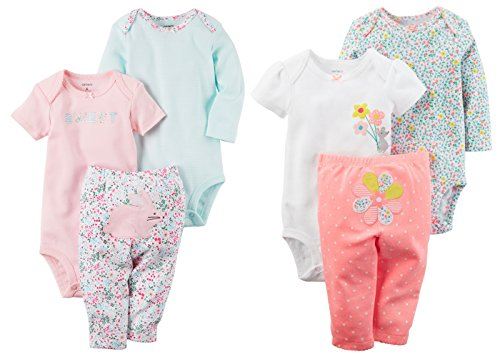 Carter's Baby Girl's Easter Bunny and Flowers 6 Piece Bodysuits and Pants Set