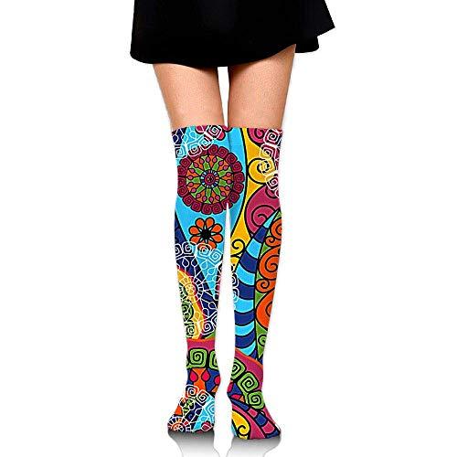 Kyliel Over the Knee Thigh High Socks,Beautiful Pattern Print High Boot