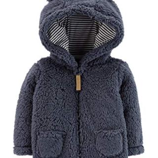 Carter's Baby Boys' Hooded Sherpa Jacket,Blue,18 Months