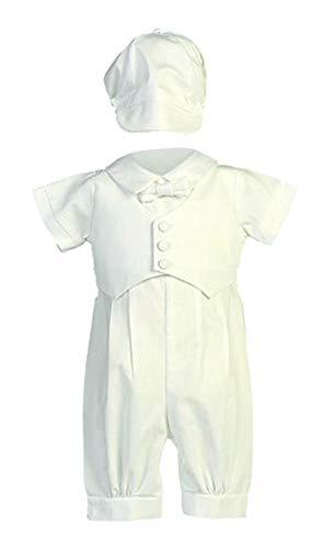 Boy's Cotton Christening Baptism Romper with Pique Vest