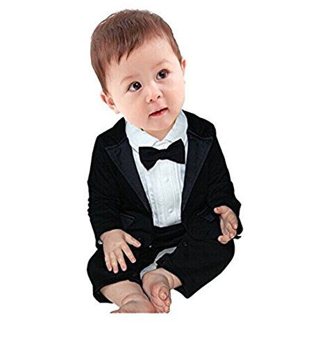iEFiEL 2pcs Baby Boys Long Sleeve Tuxedo Wedding Romper