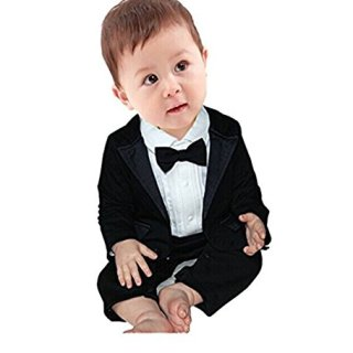 iEFiEL 2pcs Baby Boys Long Sleeve Tuxedo Wedding Romper