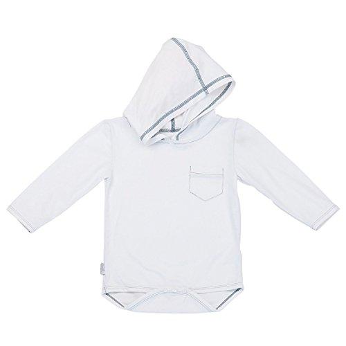 UV SKINZ UPF 50+ Baby Boy Hooded Sunzie- White - 3/6m