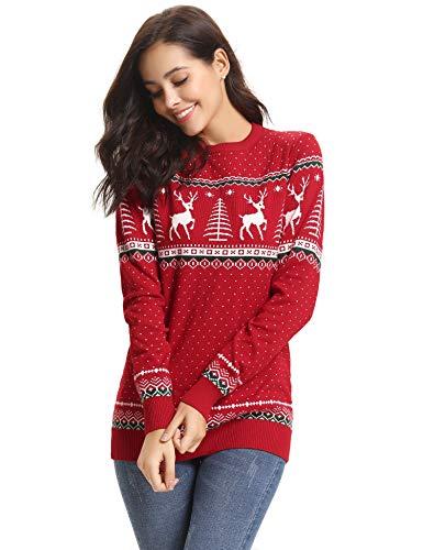 Abollria Womens Ugly Christmas Reindeer Snowflakes