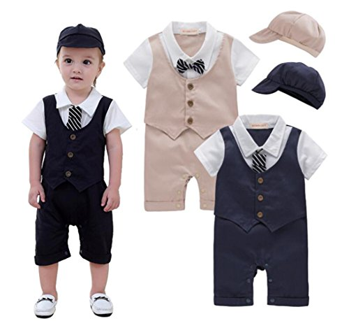 EGELEXY Baby Tie Striped Vest Formal Wear Wedding Baby Boy