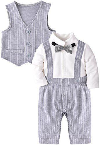 ZOEREA Baby Boy Gentleman Rompers Striped Toddler Suit
