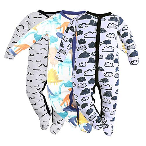 Baby Footed Pajamas Sleeper for Boys - 3 Packs Infant Cotton
