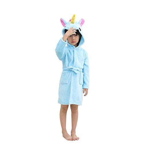 Hanax Kid Bathrobe Unicorn Flannel Ultra Soft Plush