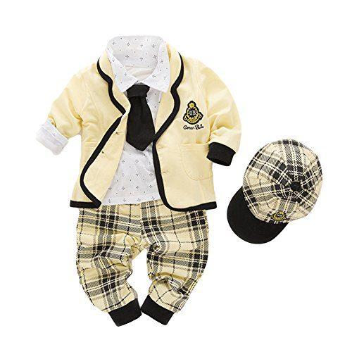 AvaCostume Baby Boy Long Sleeves Clothing Set Toddlers Suit 4Pcs