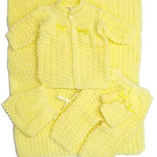 Newborn Baby Crochet Blanket 5 Piece Set Hat, Booties