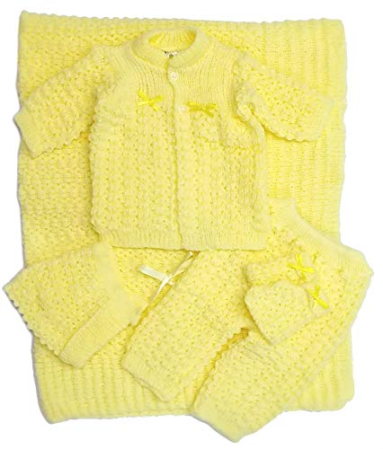 Newborn Baby Crochet Blanket 5 Piece Set Hat, Booties