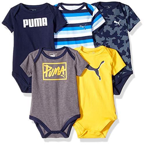 PUMA Baby Boys' 5 Pack Bodysuit Set, Peacoat 0-3M