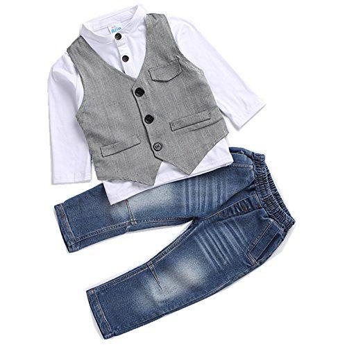 Kids Boys Clothing Sets Shirt and Vest Jeans Clothes Suit