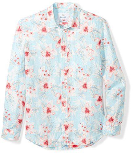 Palms Men's Relaxed-Fit Long-Sleeve 100% Linen Reverse Print Shirt
