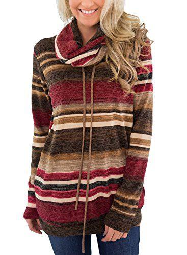 Asvivid Womens Cowl Neck Color Block Striped Tunic Sweatshirt