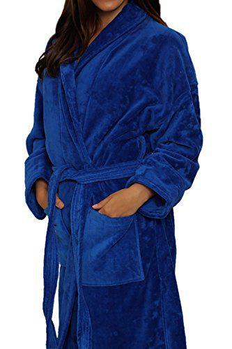 """Royal Blue Terry Velour Bathrobe 50"""" Length - 100% Cotton"""