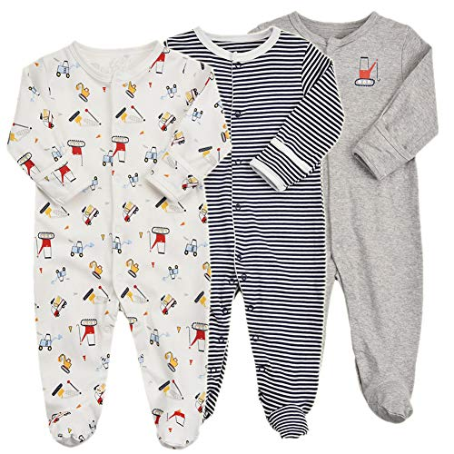 Baby Footed Pajamas with Mittens - 3 Packs Boys Baby
