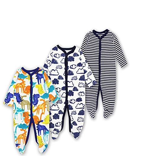 Mothernest Baby Boys' Footed Pajamas Sleeper 3 Pack