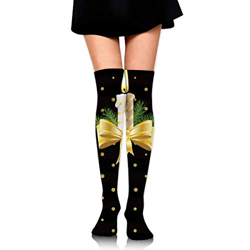 Kyliel Over the Knee Thigh High Socks,Beautiful Candle Print High Boot
