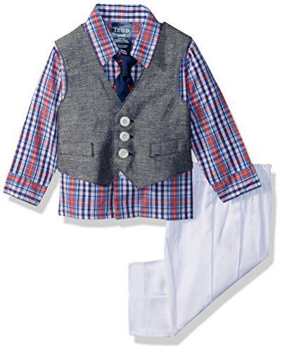 Izod Baby boys 4-Piece Vest Set with Dress Shirt
