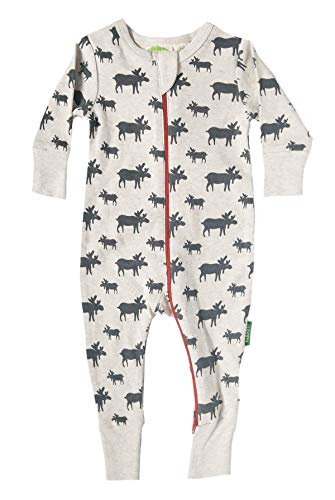 Parade Organics Signature Print '2 Way' Zipper Romper Grey Moose