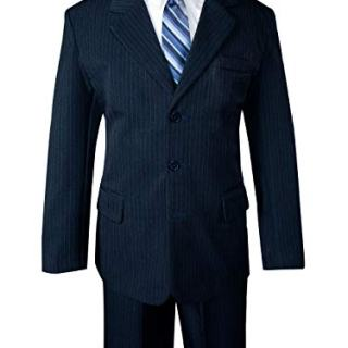 Spring Notion Big Boys' Pinstripe Suit Set Navy-Blue Stripes