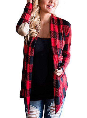 Asvivid Women's Soft Long Sleeve Checked Knitwear High Low
