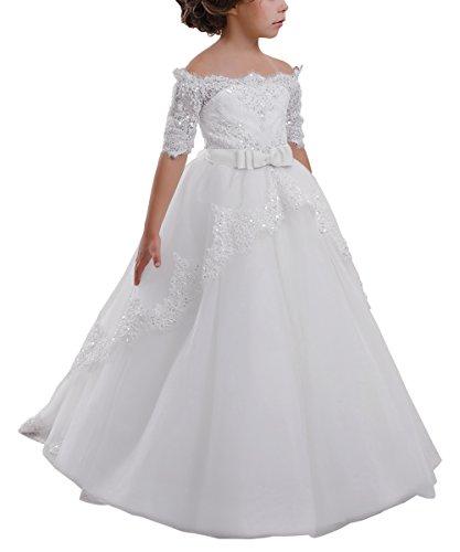 Elegant Flower Girl Lace Beading First Communion Dress