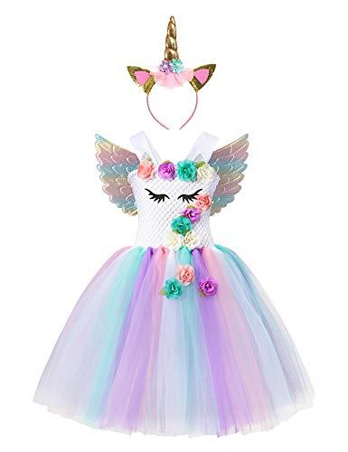Muababy Baby Girl Unicorn Costume Pageant Flower Princess Party Tutu Dress